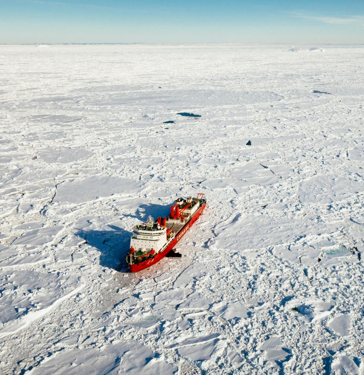 The Chinese icebreaker Xue Long beset in ice off East Antarctica.