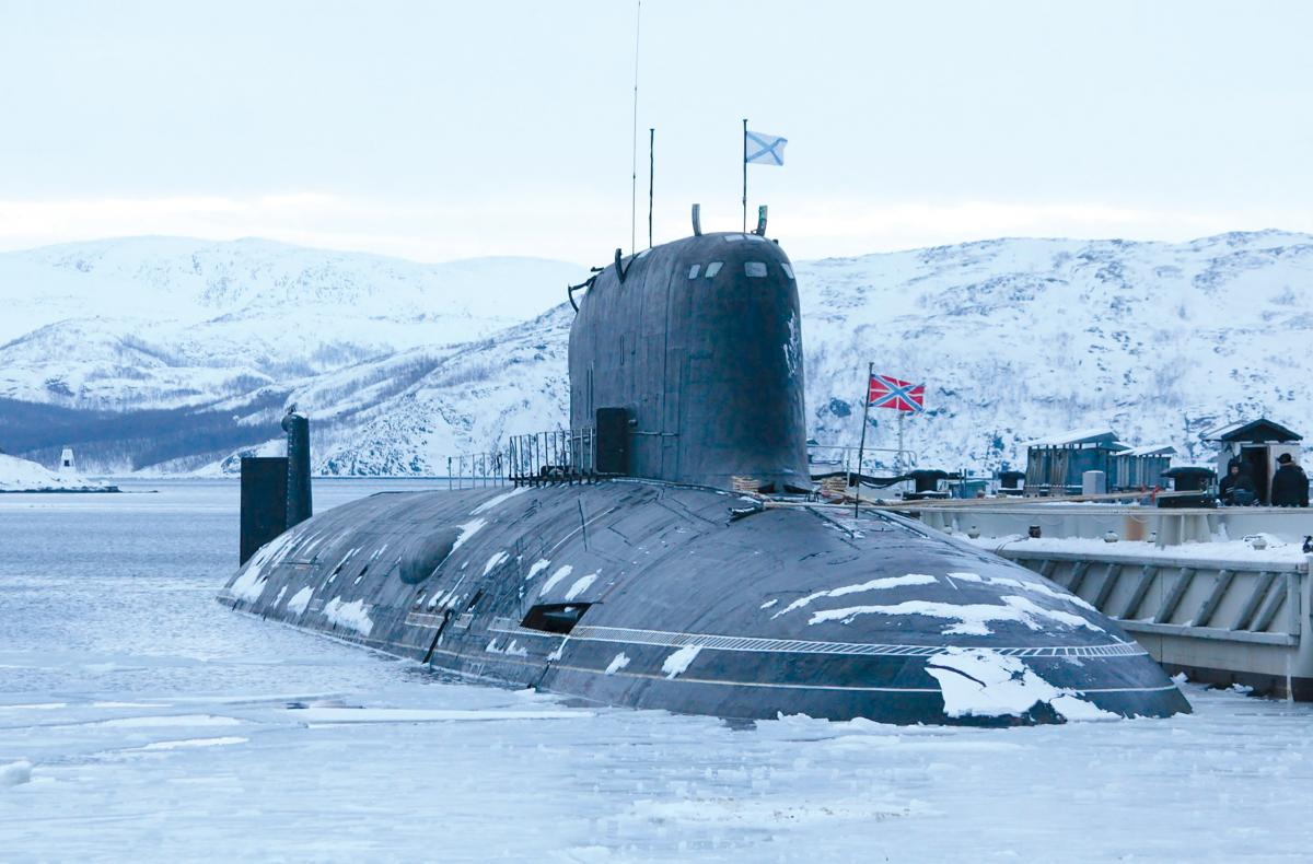 Surface starboard bow view of a Russian attack submarine