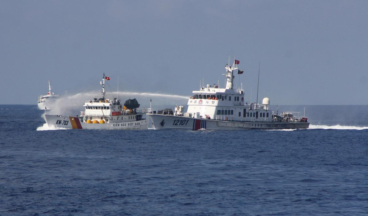A China Coast Guard ship uses water cannons on a Vietnamese marine surveillance ship in the South China Sea. China has been able to advance its agenda through aggressive moves that mostly have failed to produce a serious U.S. response. It might not embark on war because it has no need to.