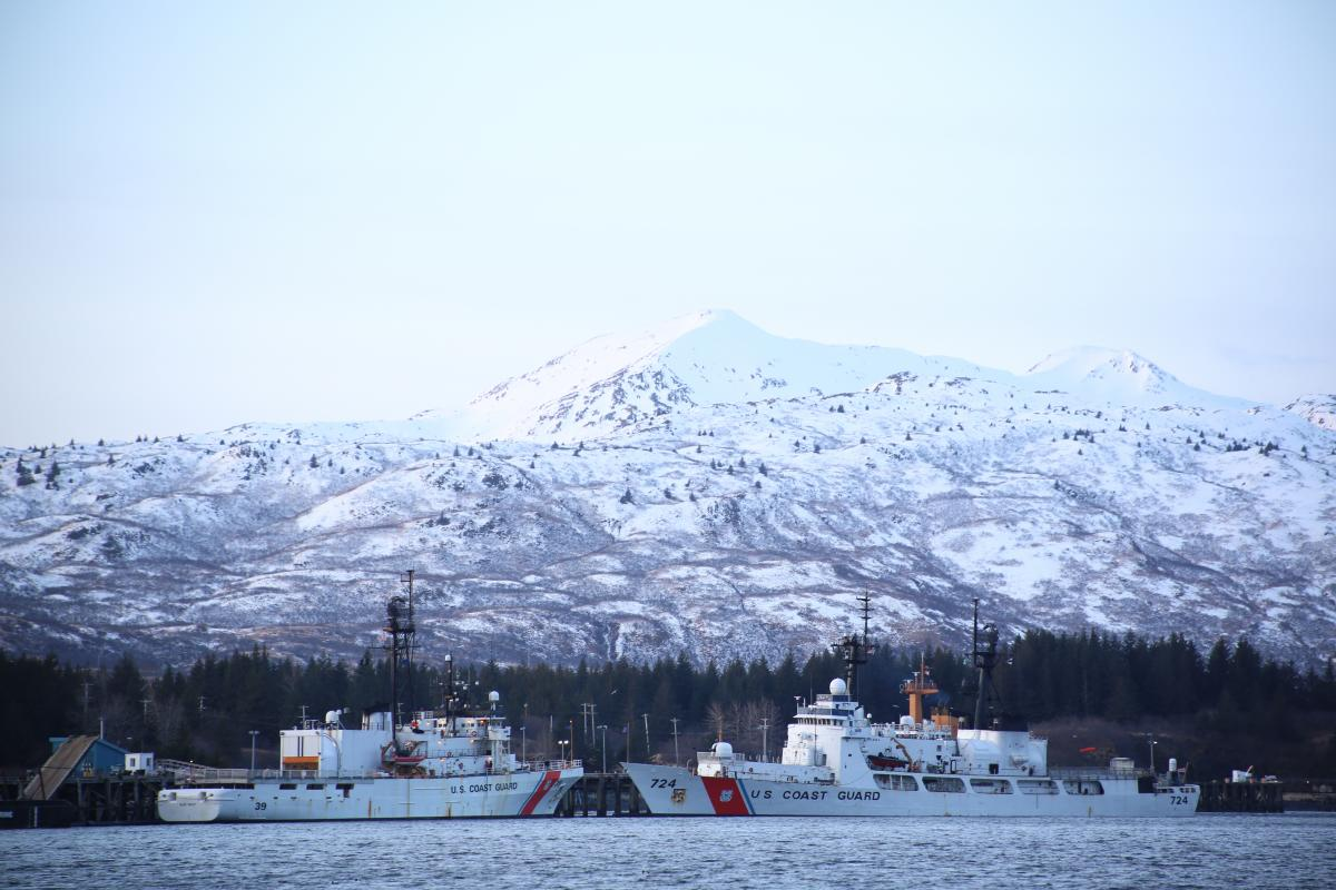 Coast Guard ships steaming in Alaska