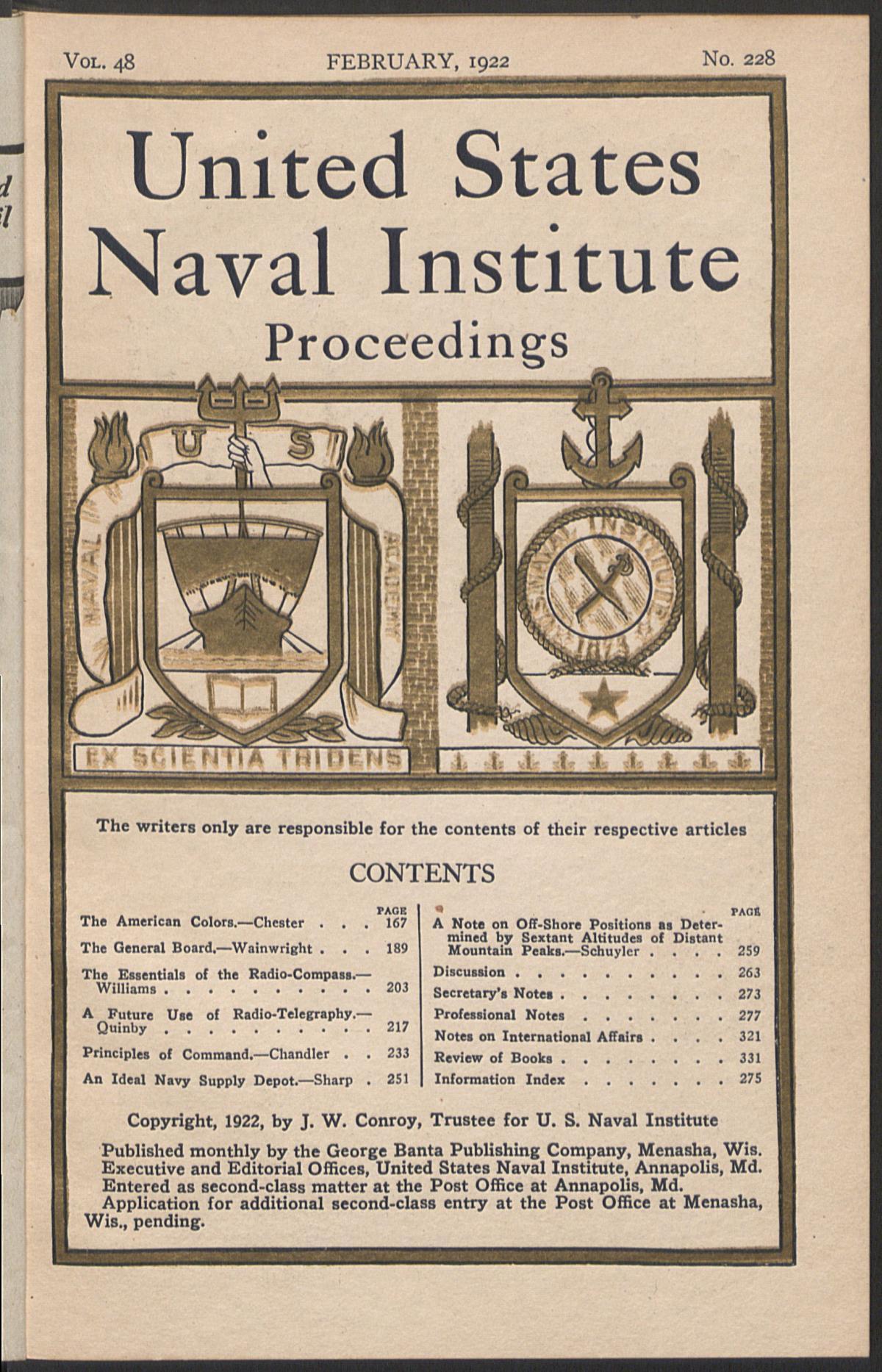 Proceedings - February 1922 Vol  48/2/228 | U S  Naval Institute