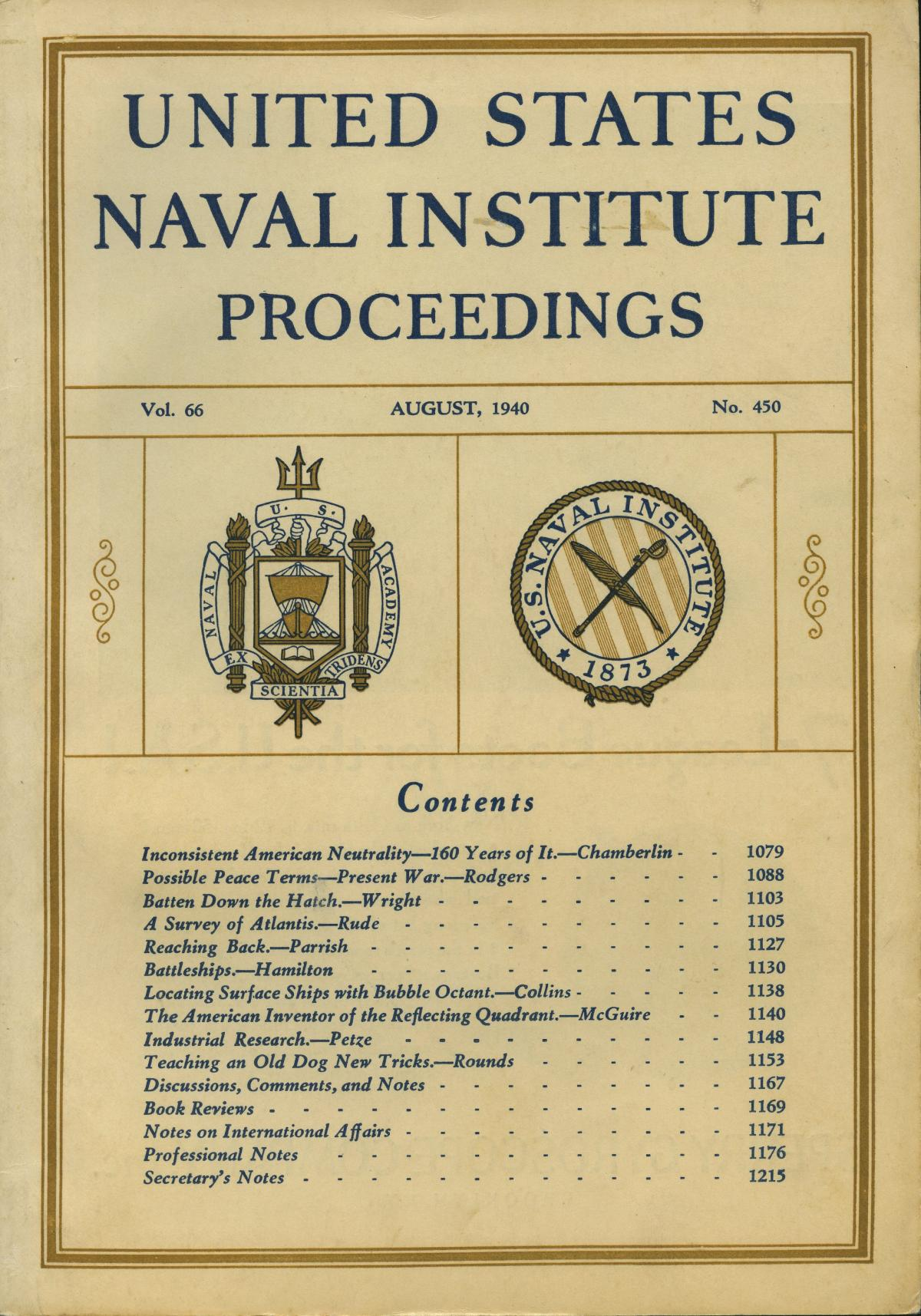 Proceedings - August 1940 Vol  66/8/450 | U S  Naval Institute