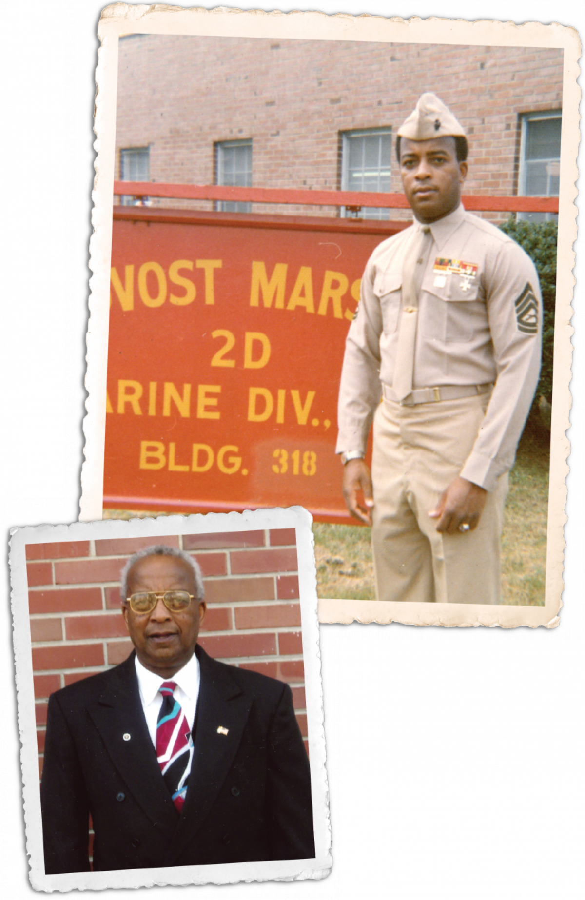 Composite of Sergeant Major Horton as a gunnery sergeant at Camp LeJeune and after his retirement from active duty