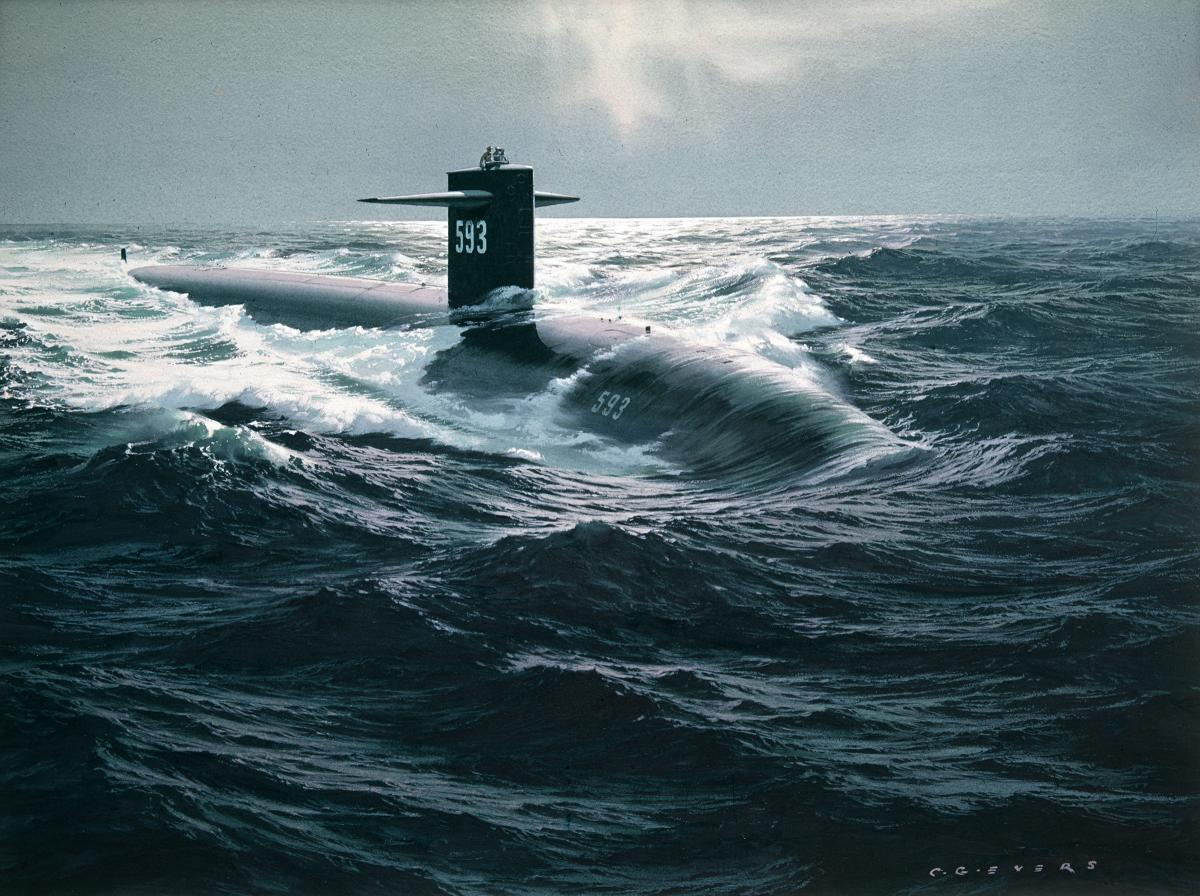 Watercolor of USS Thresher (SSN-593) underway by Carl G. Evers