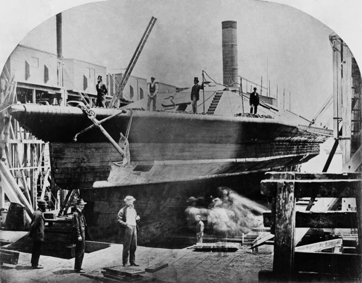 CSS Atlanta at Philadelphia's League Island Navy Yard after Union forces captured her near Savannah, Georgia, on 17 June 1863