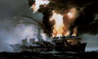 Painting of a surface starboard bow view of the attack on USS Princeton by R.G. Smith
