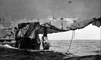 Damaged bow of Wasp starboard side after Collision of USS Wast (CV-18) and USS Hobson (DMS-26)