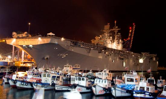 The amphibious assault ship USS America (LHA-6) sits pierside in Valparaiso, Chile, during a scheduled port visit