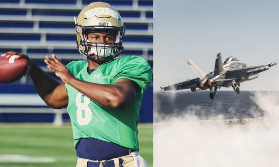 Navy footballer composited with a E/A-18 Growler taking off through catapult steam