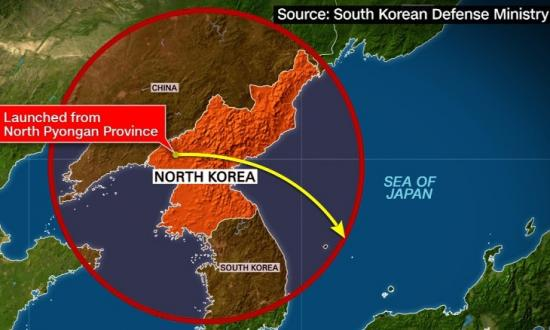 Graphic Showing North Korea test launch range.