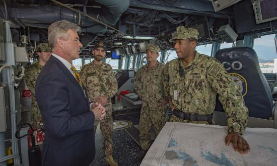 Ambassador Braithwaite on board the USS Farragut (DDG-99) in 2018