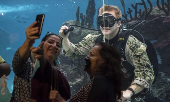 Navy Diver poses for a selfie with visitors at the New York Aquarium during Fleet Week New York 2018