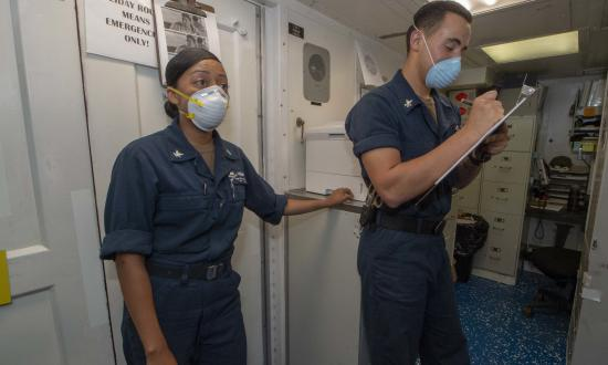 Two Hospital Corpsmen from a US destroyer.
