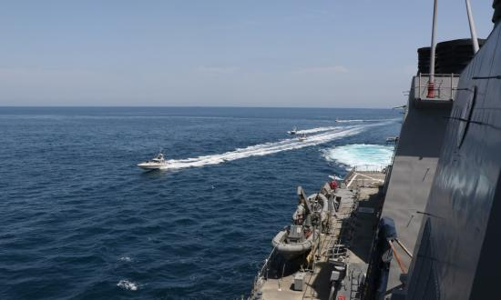 Iranian Islamic Revolutionary Guard Corps Navy vessels harass the USS Paul Hamilton (DDG-60)—one of a formation of U.S. Navy and Coast Guard ships—in international waters of the Arabian Gulf.