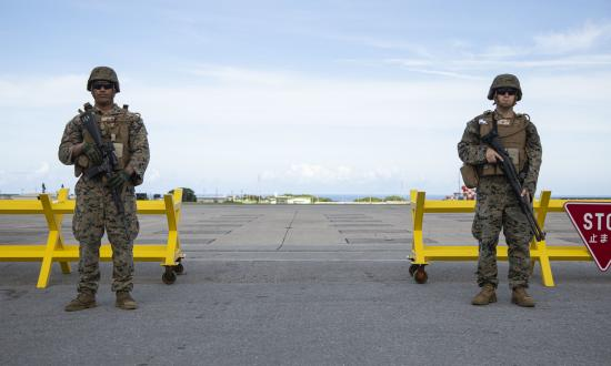 Marines standing guard at Marine Corps Air Station Futenma, Okinawa, Japan.