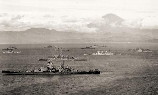 U.S. and British warships in Sagami Bay, Japan, in the final days of World War II. Naval Institute Photo Archive.