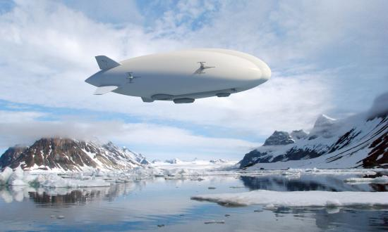 An artist's rendering of a 20-ton hybrid airship operating in a remote area.