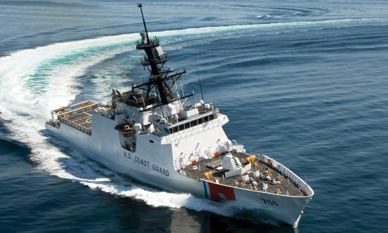 USCGC Waesche underway on acceptance trials