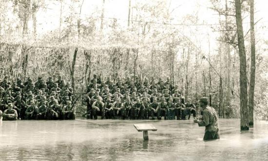 Instructor at the Army's Florida Ranger Camp conducting a lecture on survival and military operations in swamp and jungle areas on 6 February 1962.