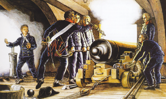 A crew serving a cannon on a sailing ship.