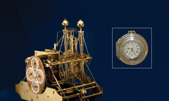 Composite of the H1 and H4 Chronometers on a blue background