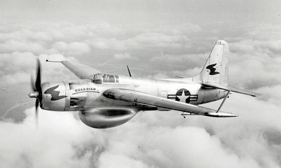 Air-to-air left front oblique view of  Grumman XTB3F-1S Guardian in flight