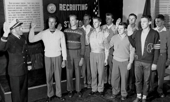 There are multiple paths to joining the U.S. Navy, including enlisting, like these young men in 1948, who were sent to San Diego Naval Training Center after taking their oaths.