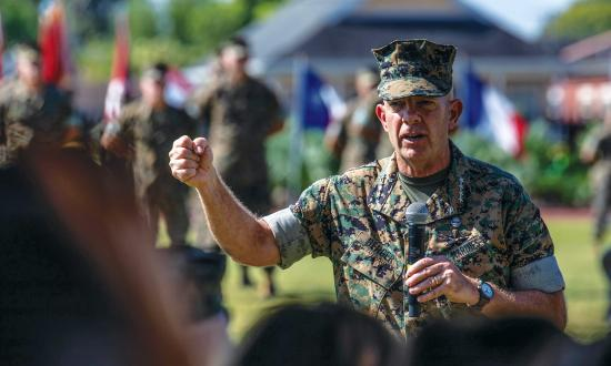 U.S. Marine Corps Gen. David H. Berger, 38th Commandant of the Marine Corps, speaks to attendees during a change of command ceremony