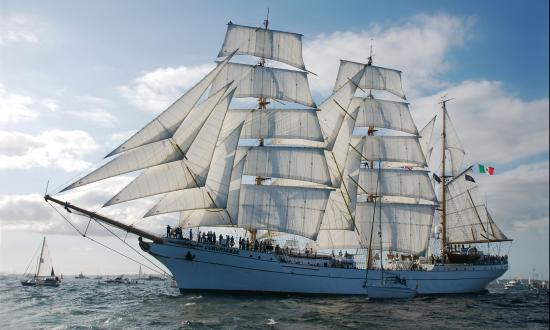 Port bow view of the Mexican three-masted barque Cuauhtemoc under sail