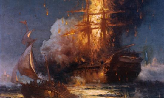 The frigate USS Philadelphia burns in Tripoli Harbor during the First Barbary War