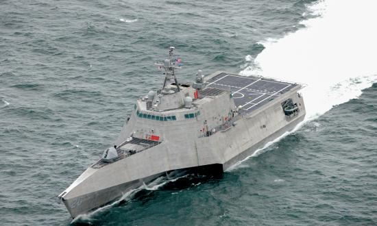 Aerial oblique port bow view of the USS Cincinnati (LCS-20) underway