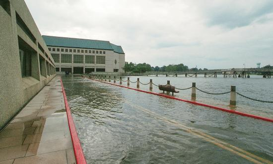 Flooding outside Nimitz Library during Hurricane Isabel in 2003