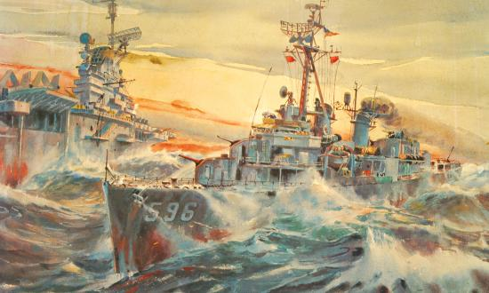 Painting of USS Shields (DD-596) speeding through the battle group protecting the Coral Sea (CV-43)