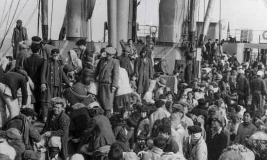 Rescued refugees from Hungnam, Korea, on board the SS Meredith Victory in December 1950