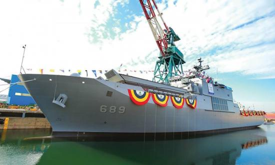 Surface port bow view of the ROKS Nojeokbong (LST-689) pierside for her commissioning