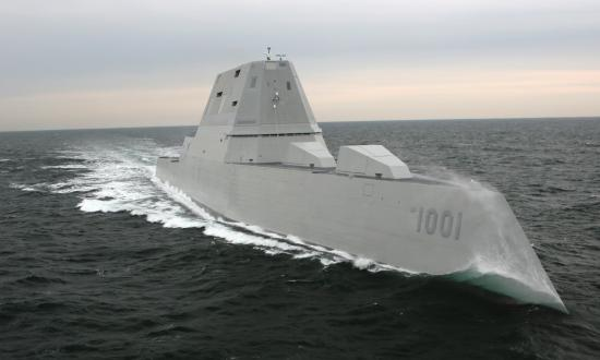 Starboard bow view of the USS Michael Monsoor (DDG-1001) on sea trials.