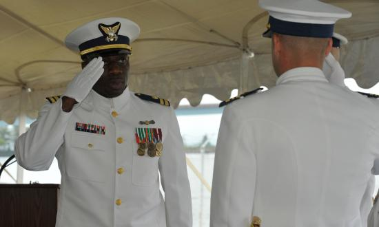 Coast Guard change of command ceremony