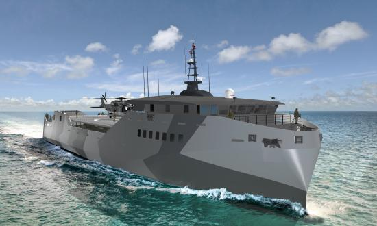 One light amphibious warship design being considered by the Navy and Marine Corps is the stern landing vessel (SLV), built by Sea Transport Solutions, an Australian company.