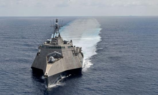 The littoral combat ship USS Gabrielle Giffords (LCS-10) patrols the South China Sea last March.