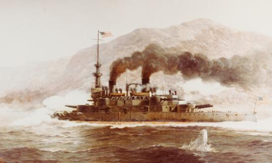 The USS Oregon in pursuit of the Spanish squadron