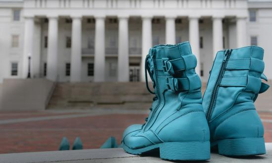 Teal shoes by the flag pole at Naval Medical Center Portsmouth