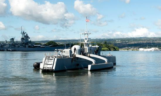 The medium displacement unmanned surface vehicle (MDUSV) prototype Sea Hunter pulls into Joint Base Pearl Harbor-Hickam, Hawaii, Oct. 31, 2018