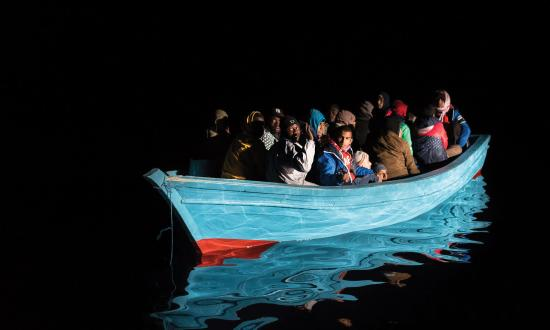 pproximately 40 refugees get rescued from distress at sea in the mediterranean sea offshore the libyan coast on 04 Dec 2016 by the NGO SOS Mediterranee