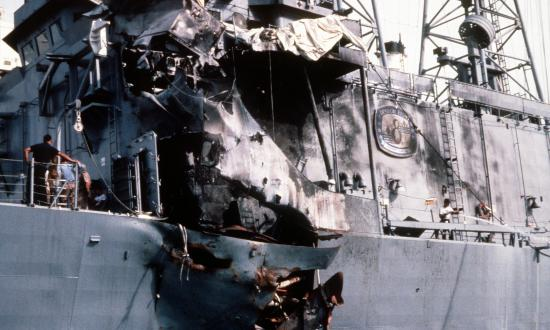 A view of damage sustained by the guided missile frigate USS STARK (FFG-31) when it was hit by two Iraqi-launched Exocet missile while on patrol in the Persian Gulf, 5/1/1987