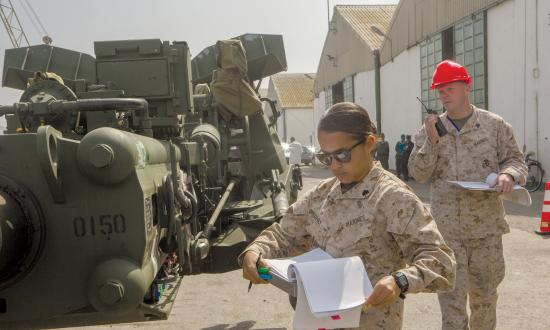 Marines inventory gear during Exercise African Lion 15 in Agadir, Morocco, May 9, 2015