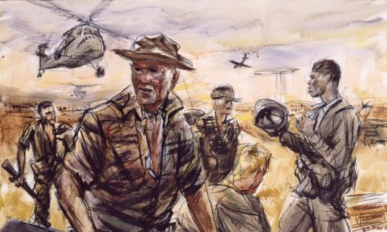 Painting of a Mariner reconnaissance platoon returning from a mission during the Vietnam War