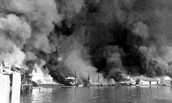 Flames engulf Cavite Navy Yard in Manila Bay on 10 December 1941