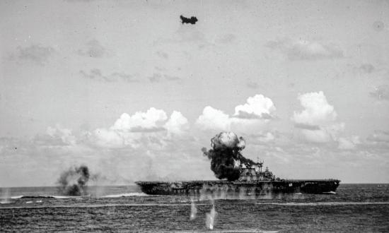 USS Hornet (CV-8) under attack during the Battle of the Santa Cruz Islands