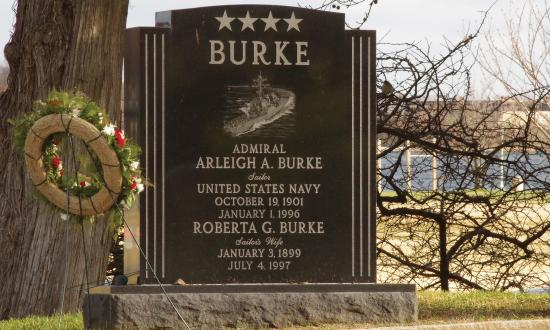 The headstone for Arleigh and Roberta Burke at the Naval Academy.
