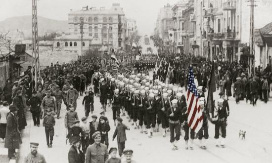 In 1919, USS Albany sailors parade through Vladivostok, Siberia.
